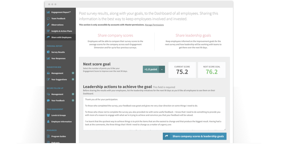 Employee engagement software leadership dashboard