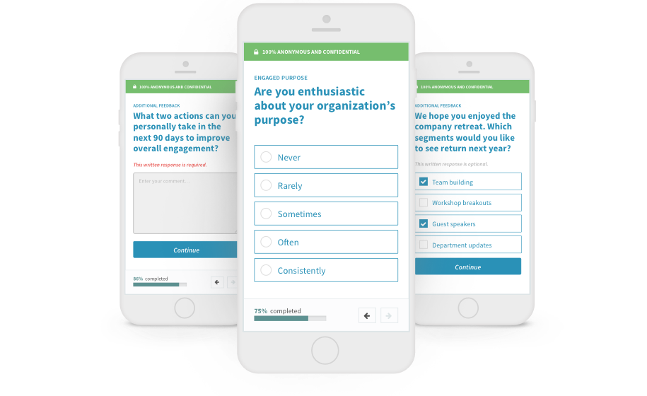 Employee engagement software survey questions example on mobile device