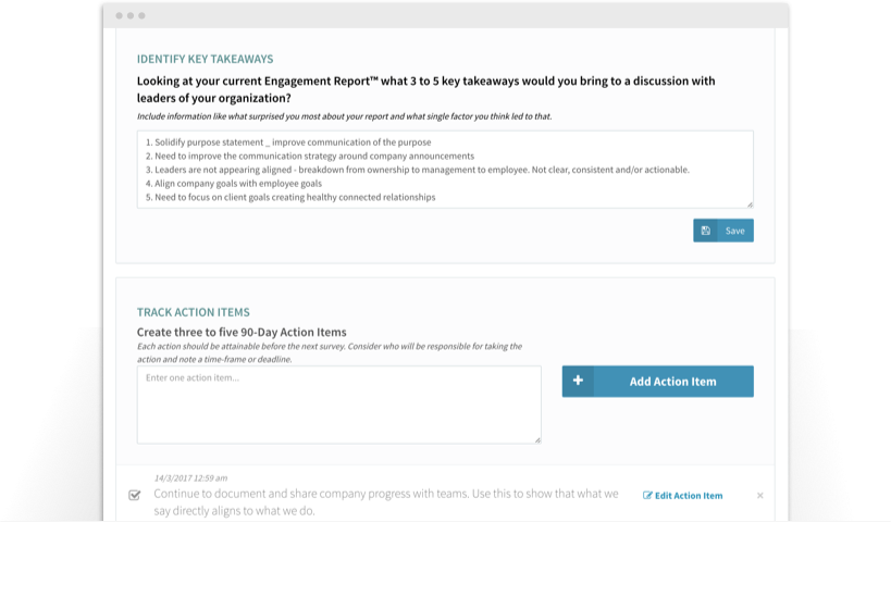 Screenshot of key takeaways and action items from employee survey feedback