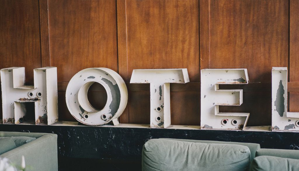 Light up letters spelling out hotel