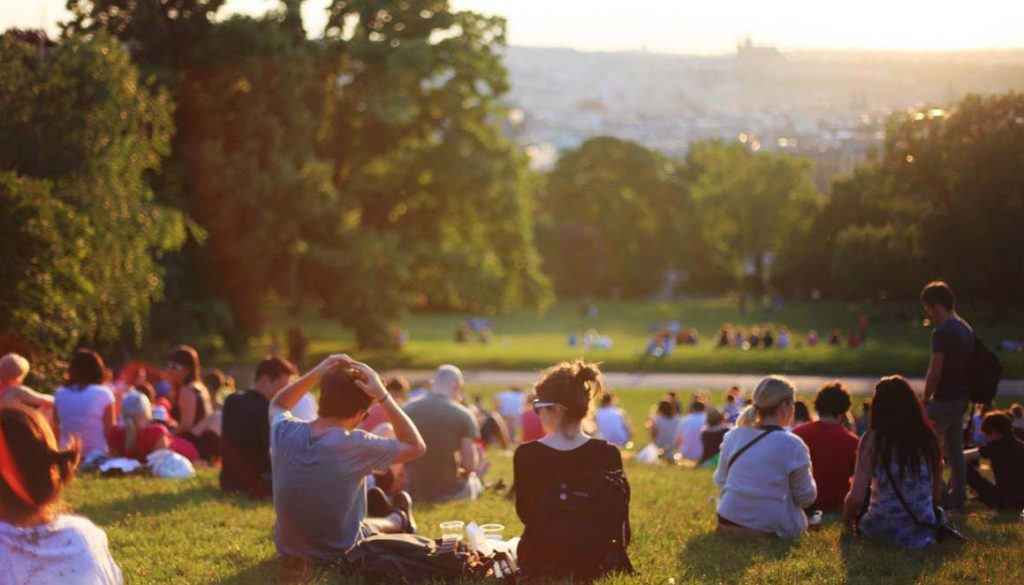 A group of people enjoy a summer day together in a park