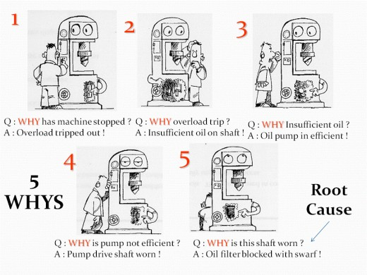 """Illustrated cartoon featuring 5 """"why"""" question and answer examples"""