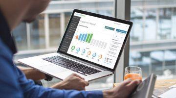 Engagement Multiplier employee engagement metrics data on a laptop
