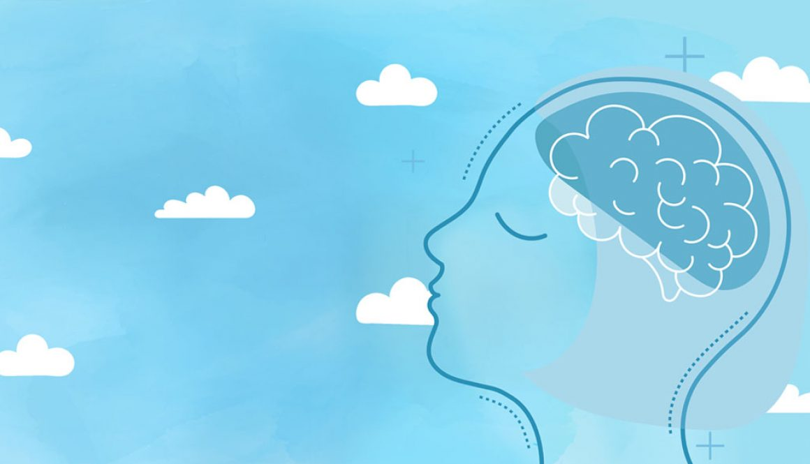 Head with brain in the clouds