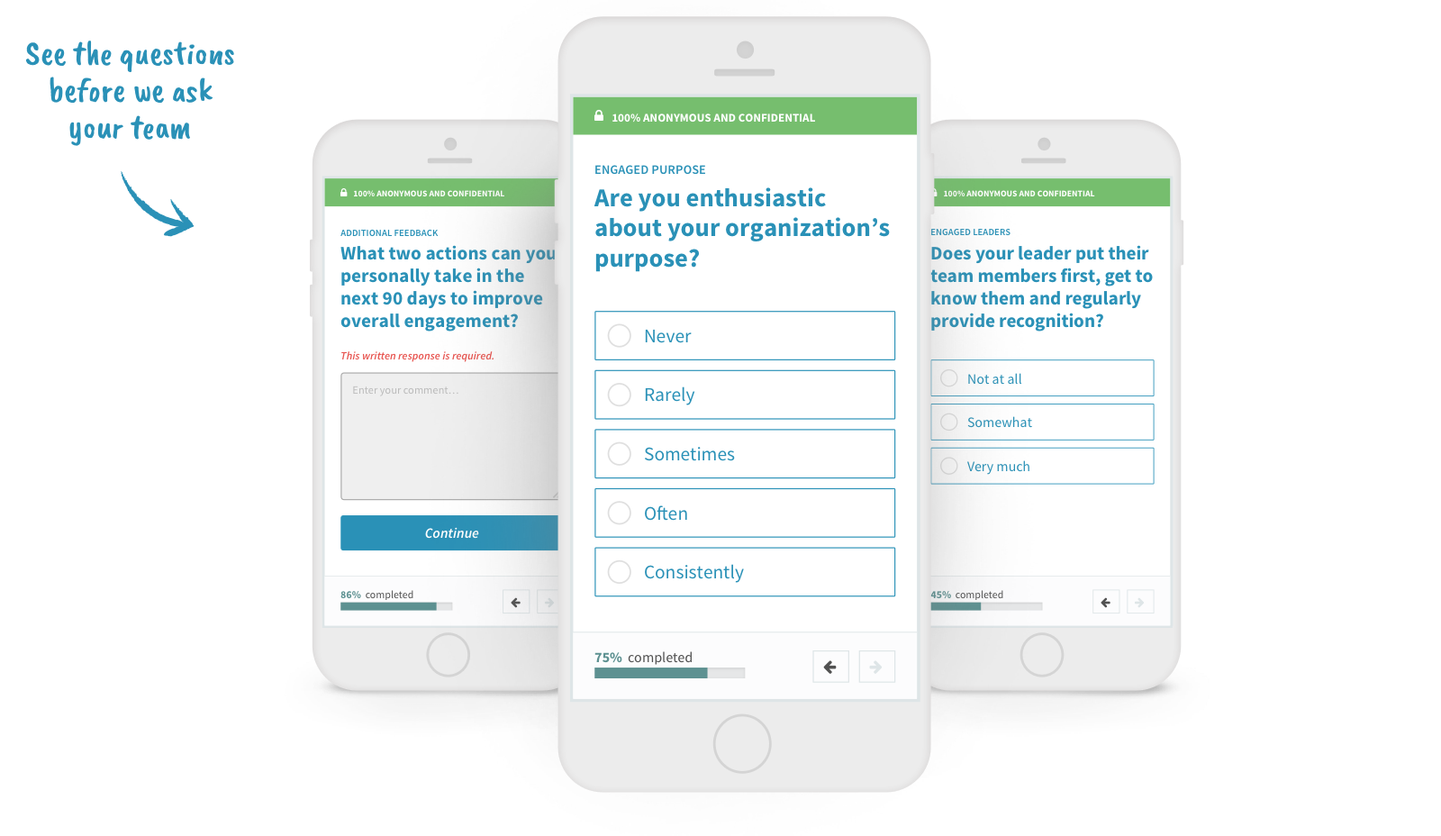 Anonymous employee engagement survey on a mobile device
