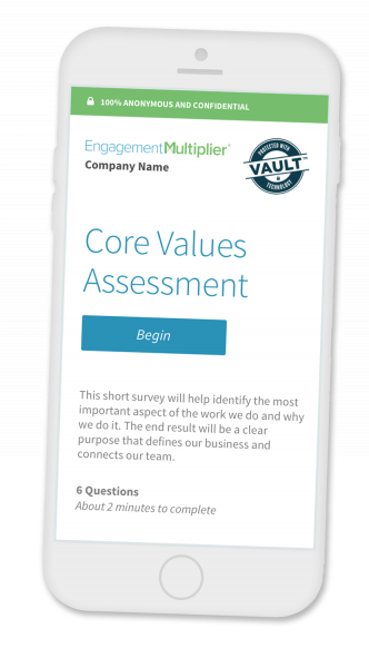 Employee engagement survey on a mobile phone